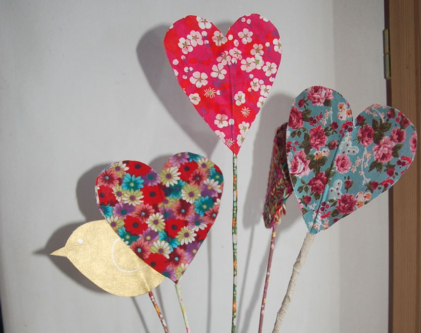 Bouquet de coeur en tissu