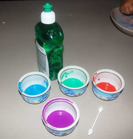 Expérience avec les enfant sur le thème lait magique et couleur