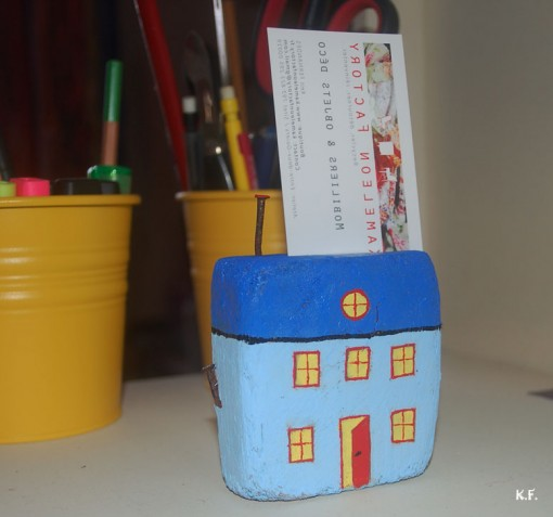 Porte carte de visite en bois flotté, motif maison