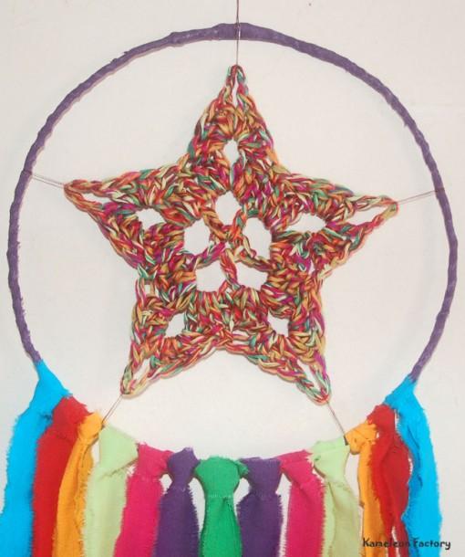 Attrapeur de rêve Bohème violet vert Détail étoile