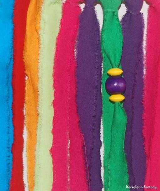 Attrapeur de rêve Bohème violet vert Détail tissus