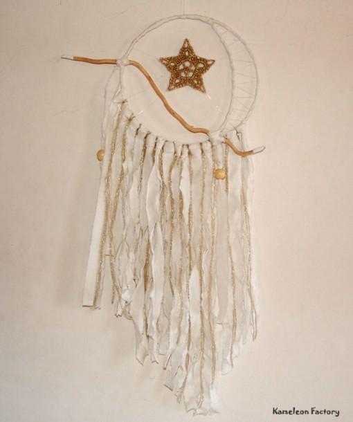 Attrapeur de rêve étoile de lune blanc et or