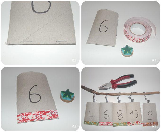 étape sachet de Noël en rouleu de papier toilette