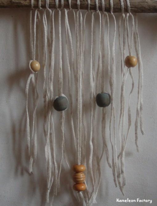 Sapin de Noël Bois flotté et tissage fil de lin détail fil