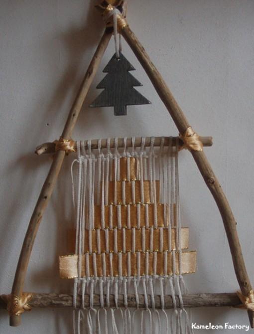 Sapin de Noël Bois flotté et tissage fil de lin détail sapin