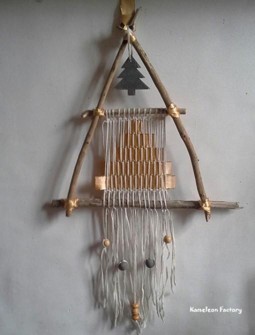 Sapin de Noël Bois flotté et tissage fil de lin réalisé par Kameleon Factory
