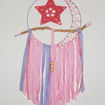 attrape rêve ou dream catcher tendre rose serie Moon Star