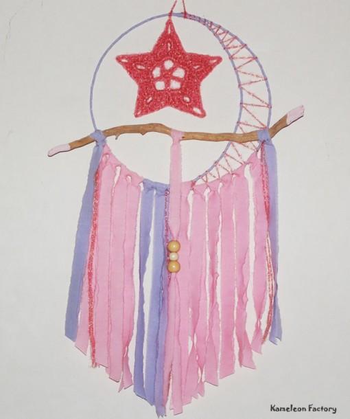 attrape rêve ou dream catcher tendre rose serie Moon Star