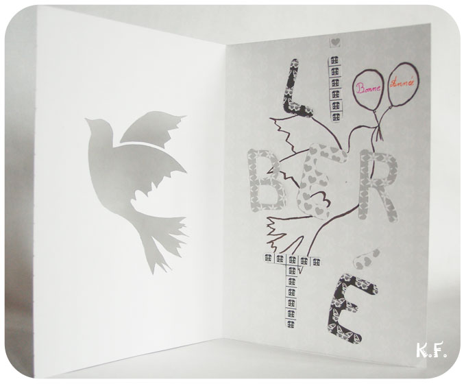 Carte de voeux avec pochoir oiseau symbole de la liberté