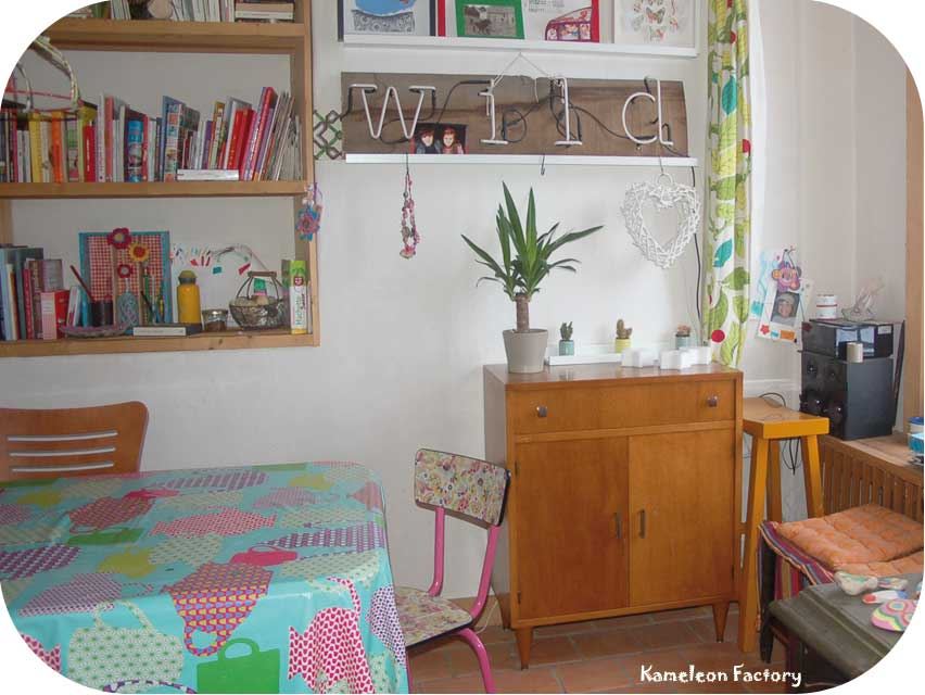 meuble chiné et coin plante verte