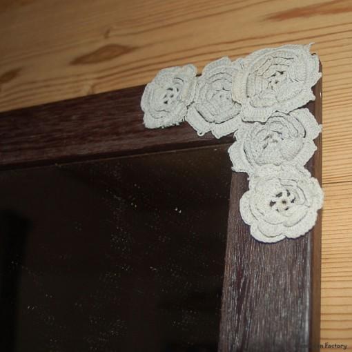 Miroir bois wengé et lin ouvrage crochet