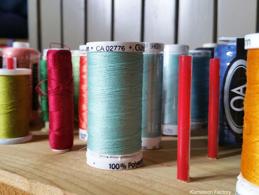 rangement des bobines de fils couture