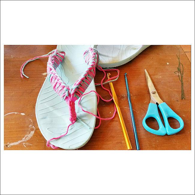 relooking tong au crochet