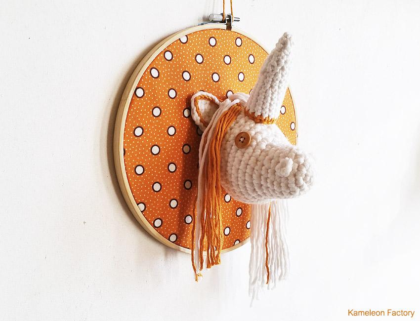 Un trophée licorne au crochet