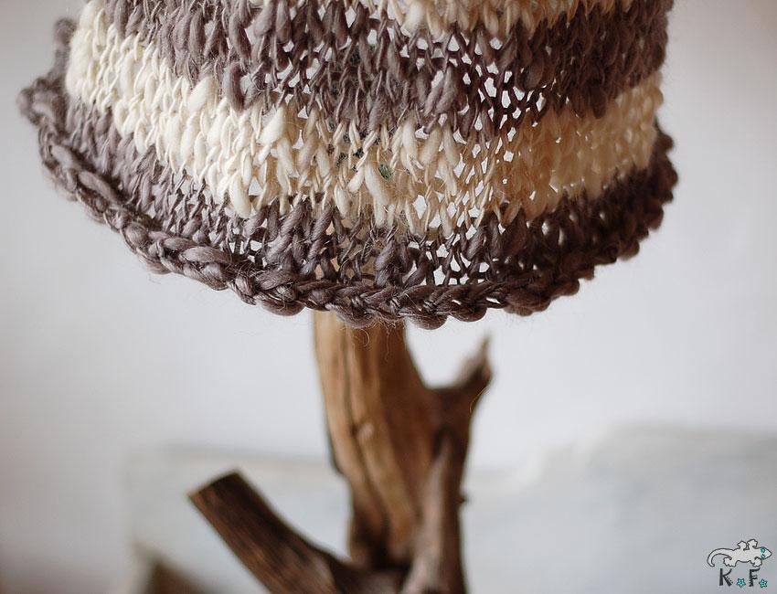 Lampe nature et abat-jour en tricot