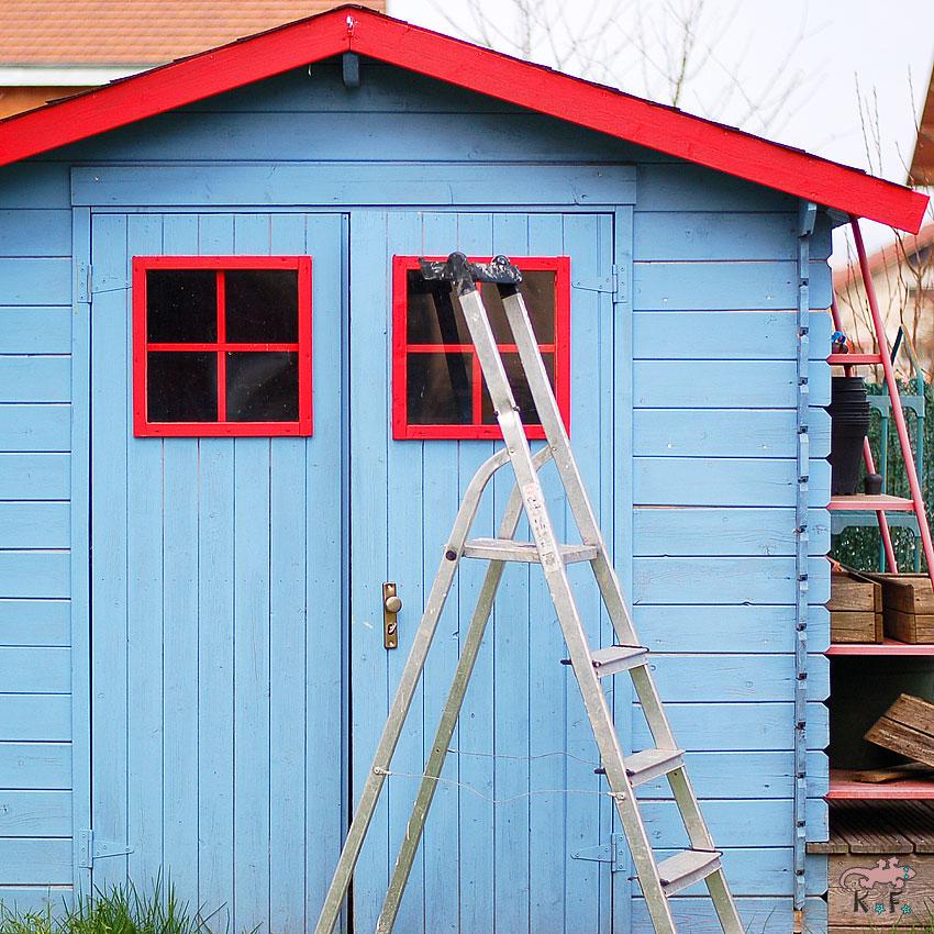 cabane au jardin et peinture