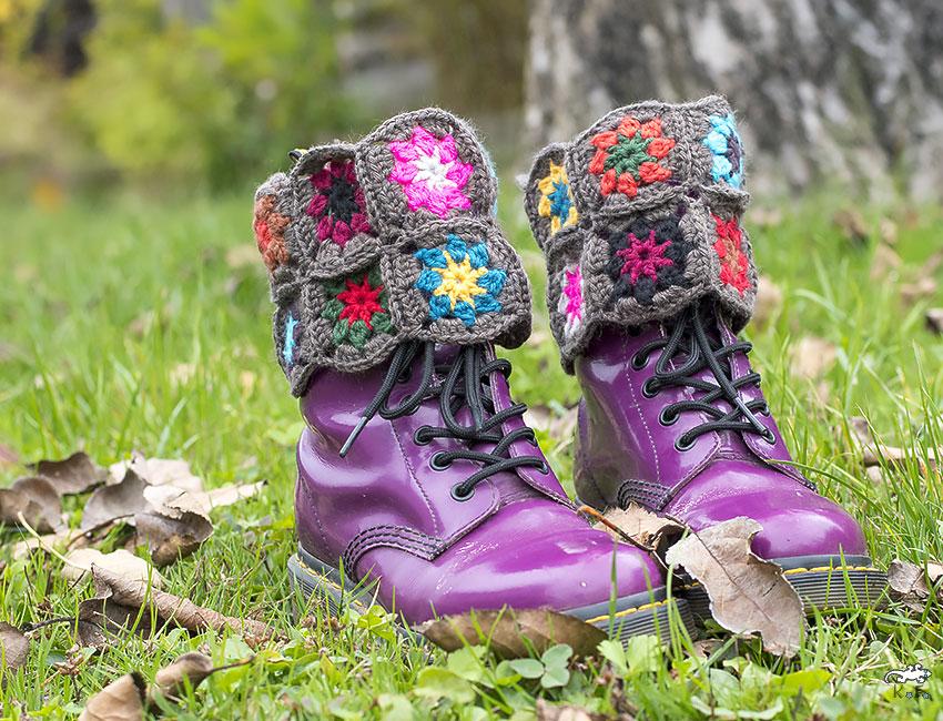 Pimp tes chaussures! Granny square #5 : les guêtres