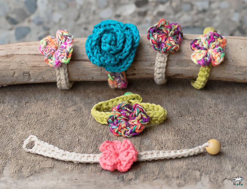 Bracelet en maille au crochet fleur