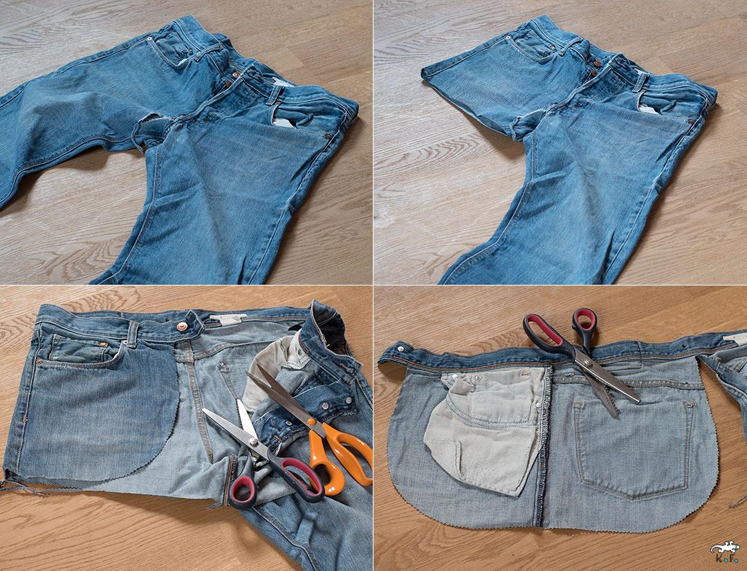 tablier home made avec un vieux jean à recycler diy