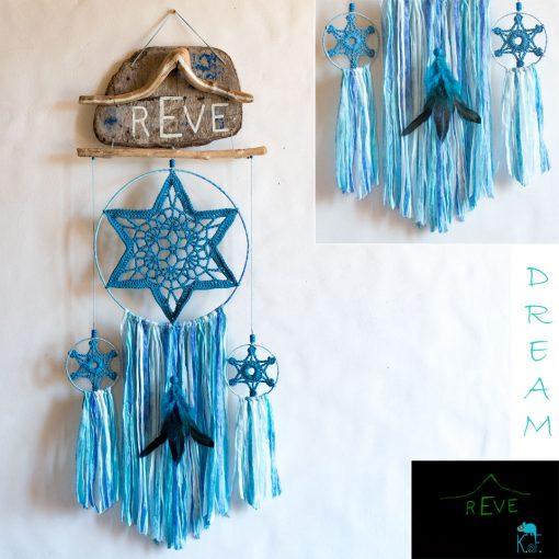 Dreamcatcher Iceberg phosphorescent avec bois flottés