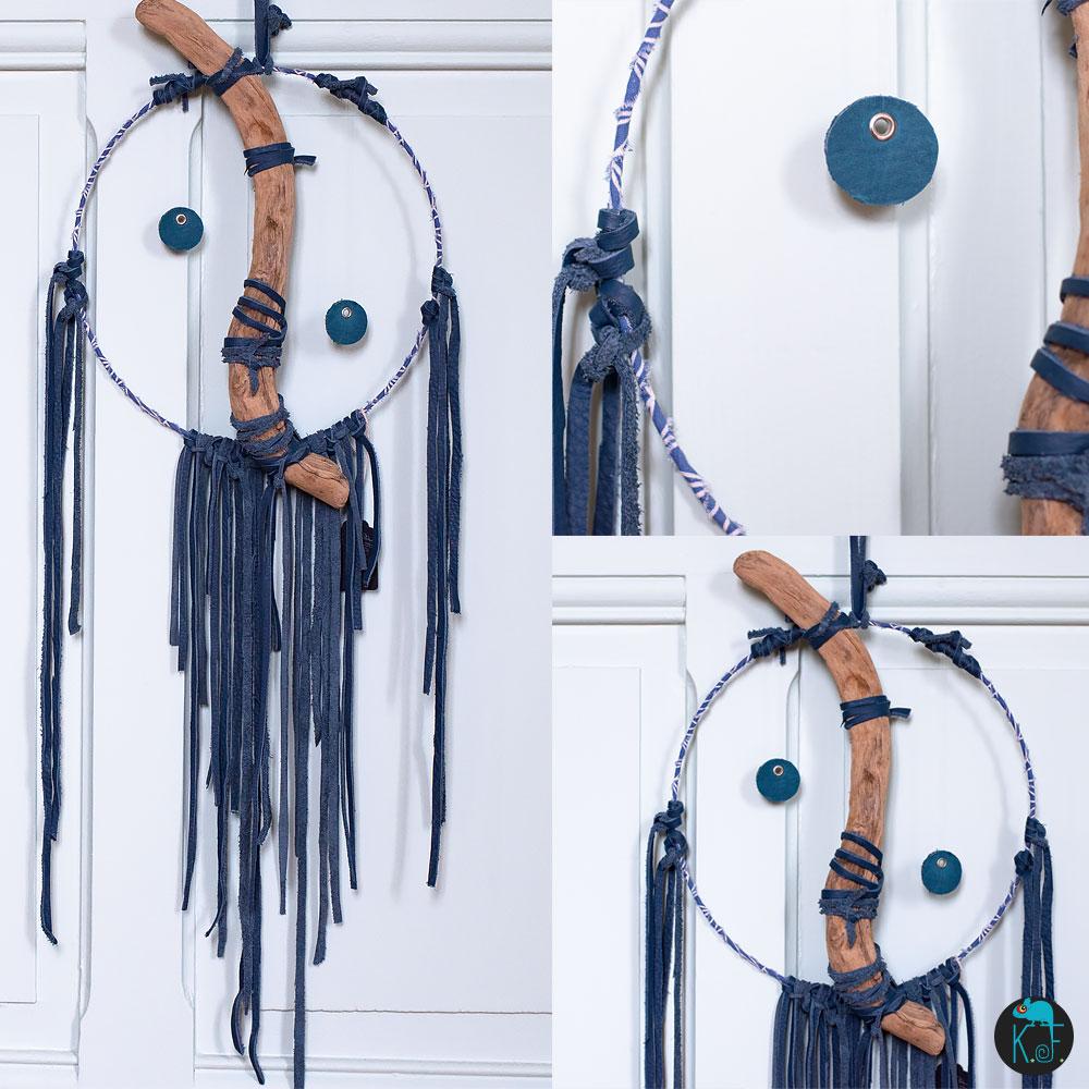 Dreamcatcher YIN-YANG en cuir et bois flottés par Kameleon Factory