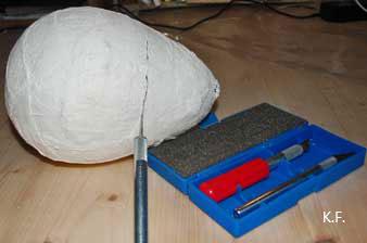 Moulage boîte œuf en bande plâtrée. Kameleon Factory