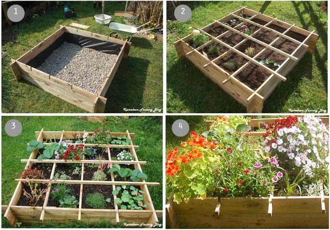 étapes pour réaliser un carrée de fleur au jardin