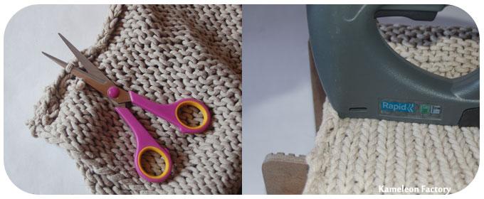 Péparation nid avec un vieux pull