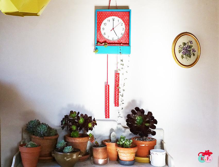 DIY horloge porte plante avec une caisse à vin