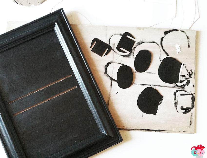 preparation cadre et peinture noire