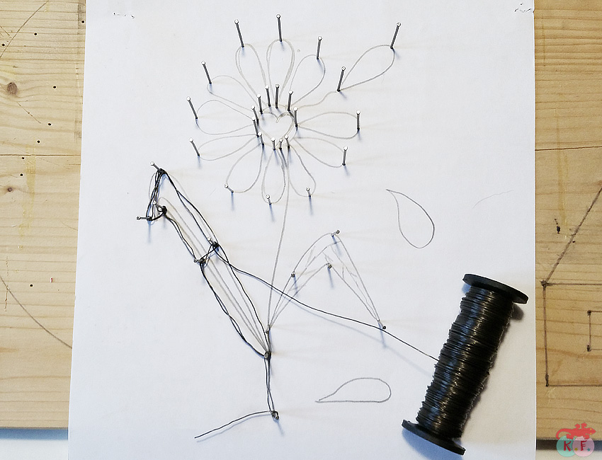 maguerite dessin fil de fer