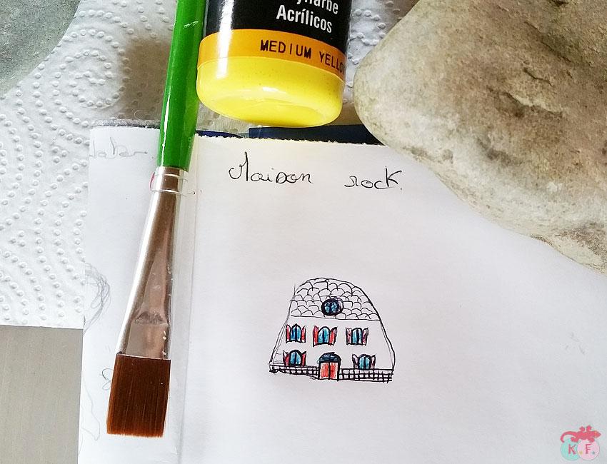 esquisse ou dessin de maison pour diy galet peint