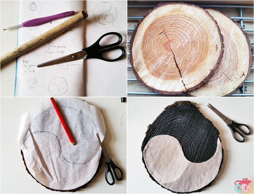 Yin et Yang avec une rondelle de bois