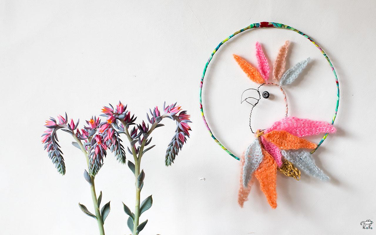 Perroquet au crochet decoration des murs
