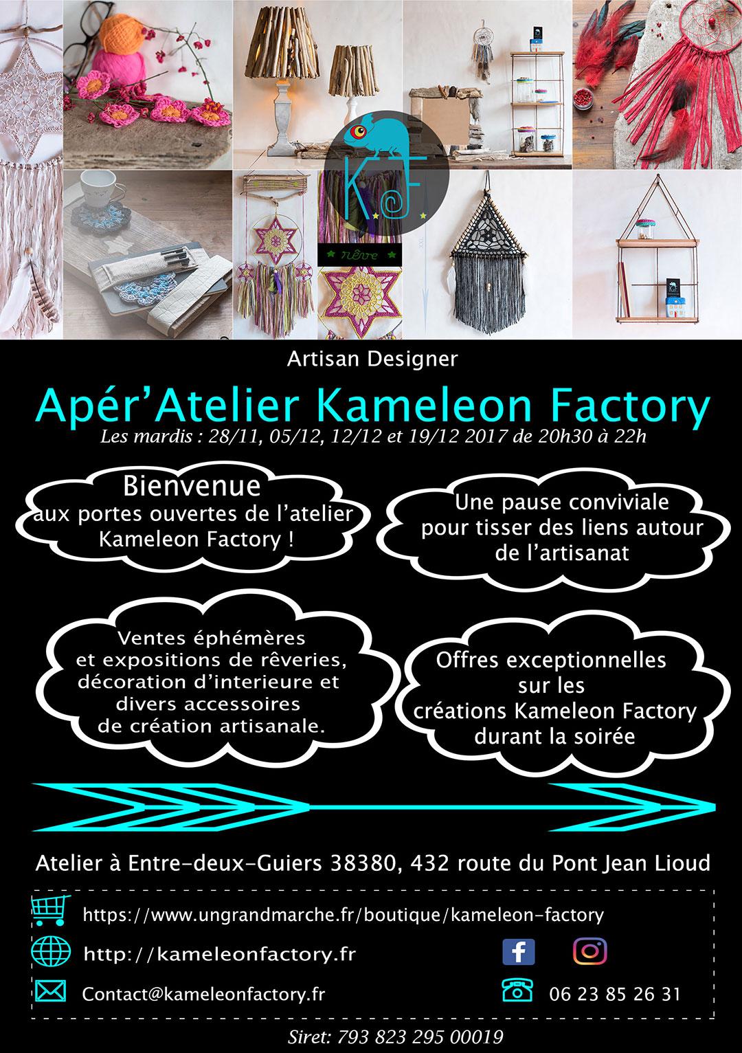 Flyer Apér'atelier Kameleon Factory