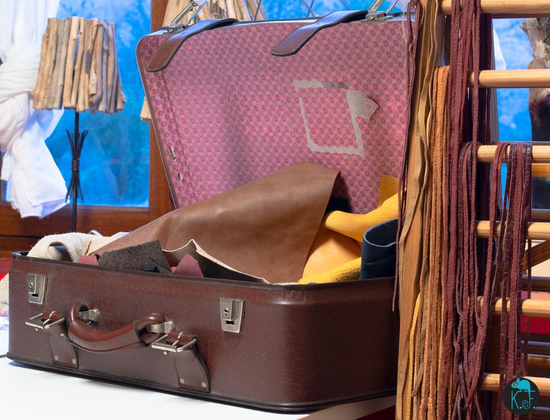 stock cuir et valise vintage Kameleon Factory